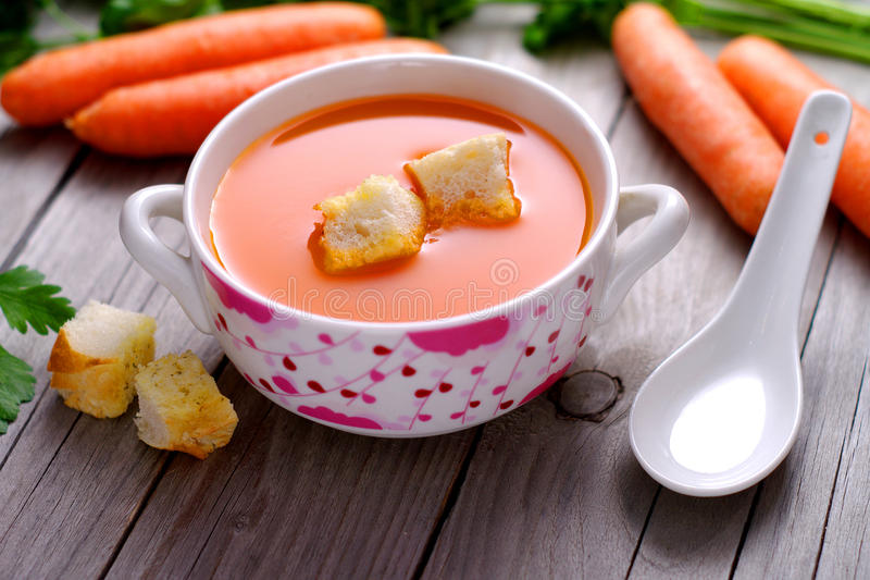 Download Carrot  Soup In A Porcelain Bowl. Stock Photo - Image: 40742990