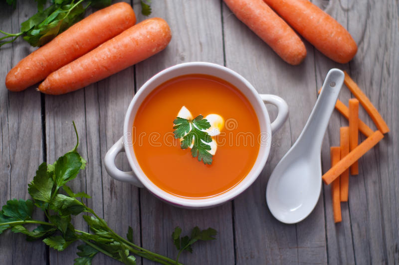 Download Carrot  Soup In A Porcelain Bowl. Stock Photo - Image: 40742998