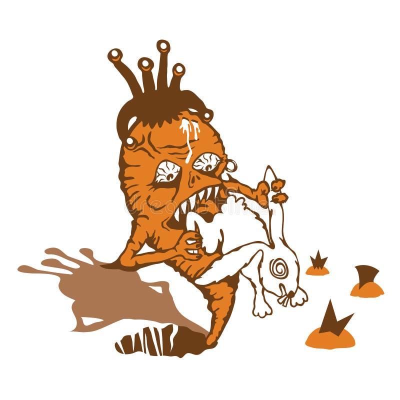 Carrot takes revenge on rabbit. Carrot takes revenge on a little white rabbit stock illustration