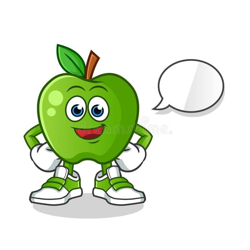 Green apple talking mascot vector cartoon art illustration stock image