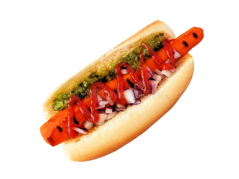 Carrot vegan hot dog with relish, ketchup and onions, top view isolated on white. Carrot vegan hot dog with relish, ketchup and onions. Top view isolated on a royalty free stock photography