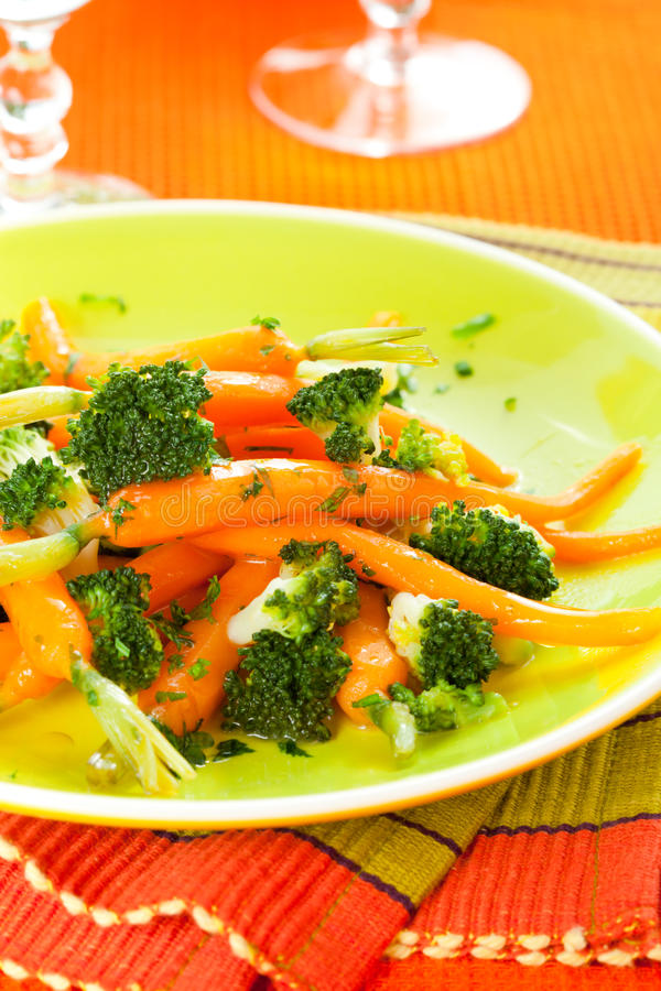 Carrots and broccoli royalty free stock images