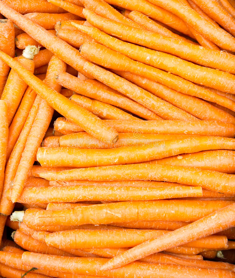 Carrots freshly dug and ready for sale stock photo