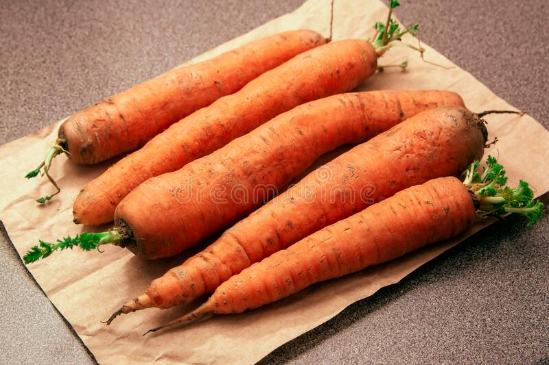 Carrots from the garden with dirt still stock photos