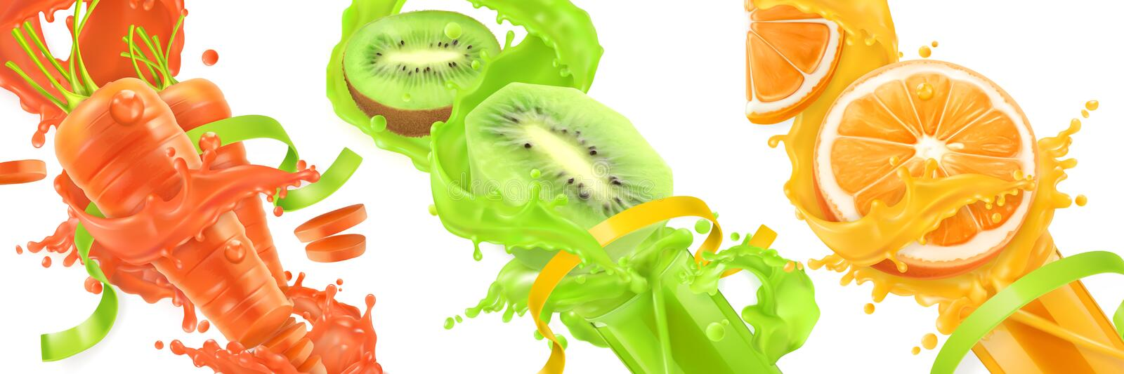 Carrots, kiwi, orange splash of juice. 3d vector icon se. Carrots, kiwi, orange splash of juice. Healthy food, sports and fitness. Natural fruit and vegetables stock illustration