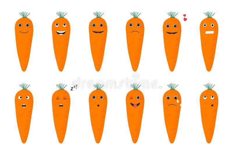 Carrots set of funny smiles. Fruit vegetables and food collection. Vector cartoon illustration. Cute stylish characters royalty free illustration