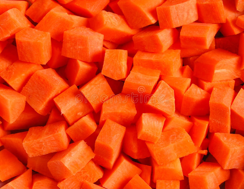 Carrots sliced into pieces. stock photography