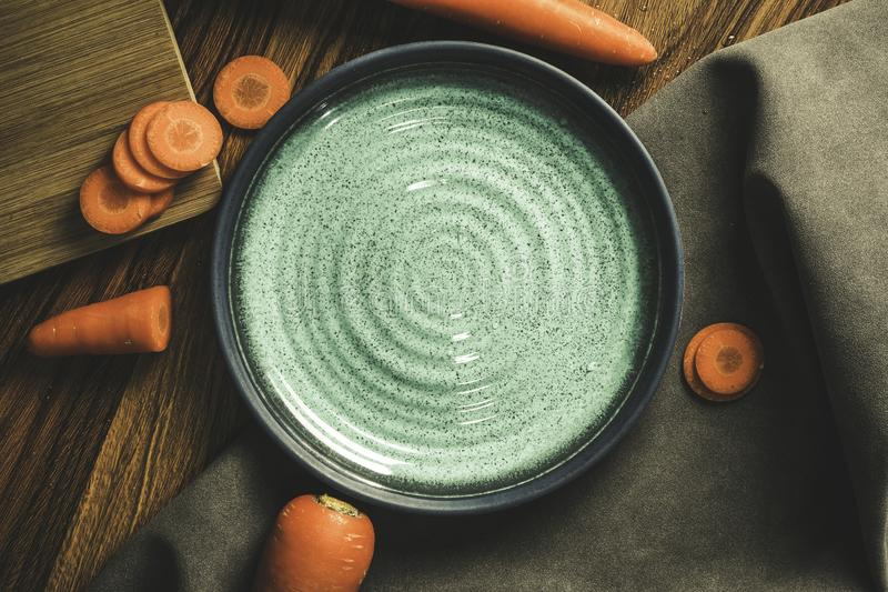 Carrots, sliced, sliced into blackground. Leave space for text stock images