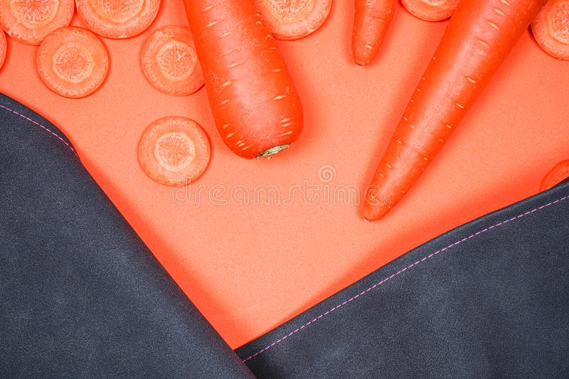 Carrots, sliced, sliced into blackground. Leave space for text stock photos