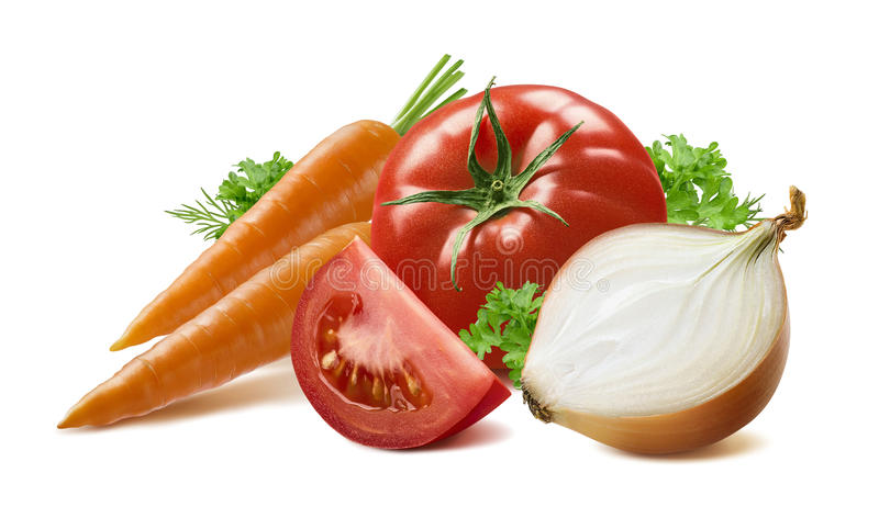 Carrots tomato yellow onion herbs on white background. As package design element stock photo