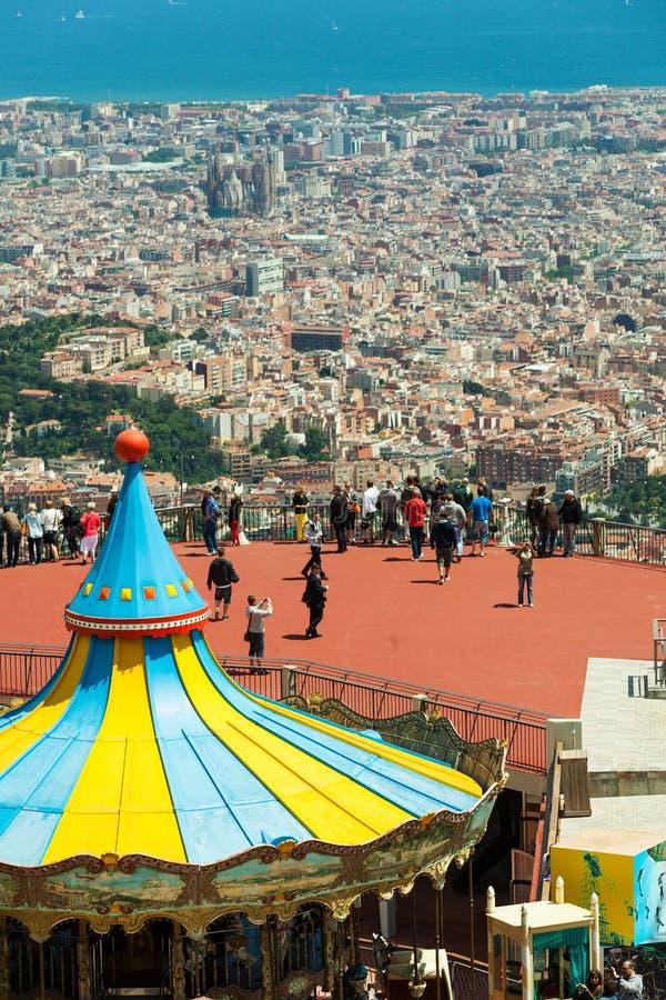 Carrousel bij het Pretpark van Tibidabo in Barcelona royalty-vrije stock foto