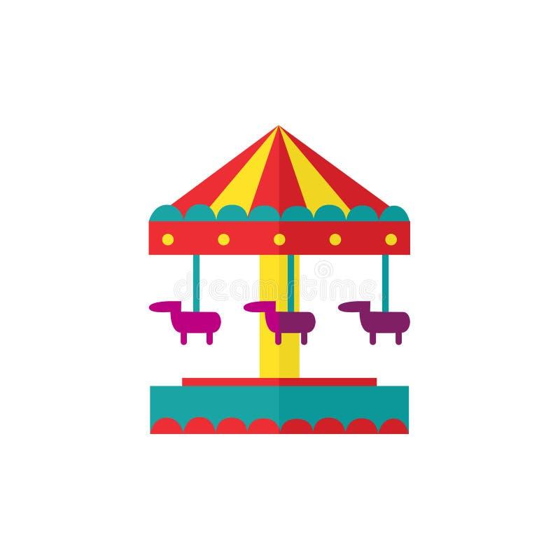 Carrousel de cheval de vecteur, objets de parc d'attractions illustration libre de droits