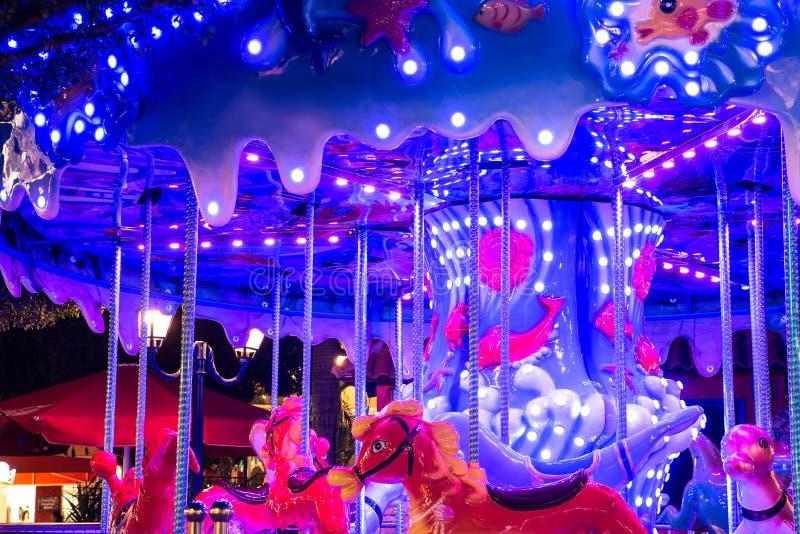 Carrousel de nuit photo stock