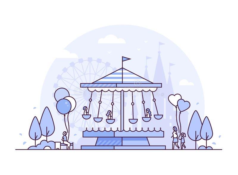 Carrousel - dunne de stijl vectorillustratie van het lijnontwerp stock illustratie