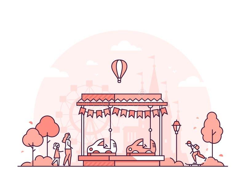 Carrousel - dunne de stijl vectorillustratie van het lijnontwerp vector illustratie