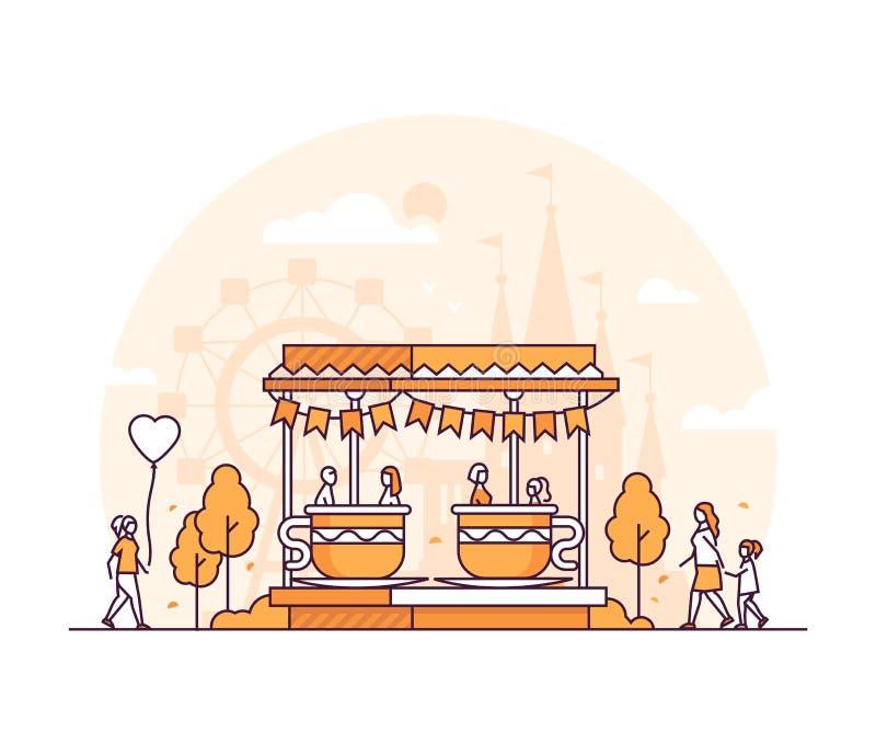 Carrousel - dunne de stijl vectorillustratie van het lijnontwerp royalty-vrije illustratie