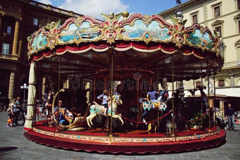 Carrousel in Florence royalty-vrije stock foto