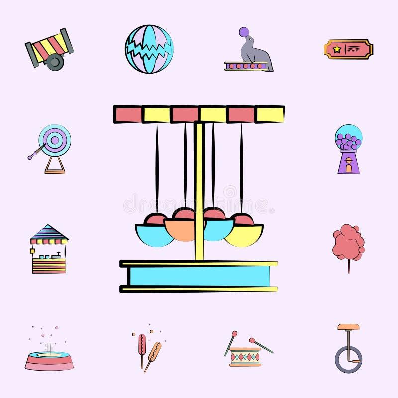 carrousel gekleurd pictogram voor Web wordt geplaatst dat en het mobiele algemene begrip van circuspictogrammen stock illustratie