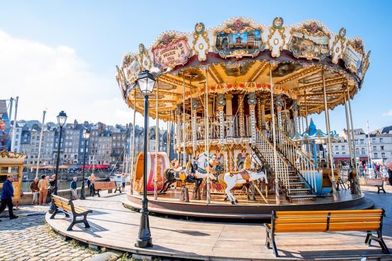 Carrousel in Honfleur-stad, Frankrijk royalty-vrije stock fotografie