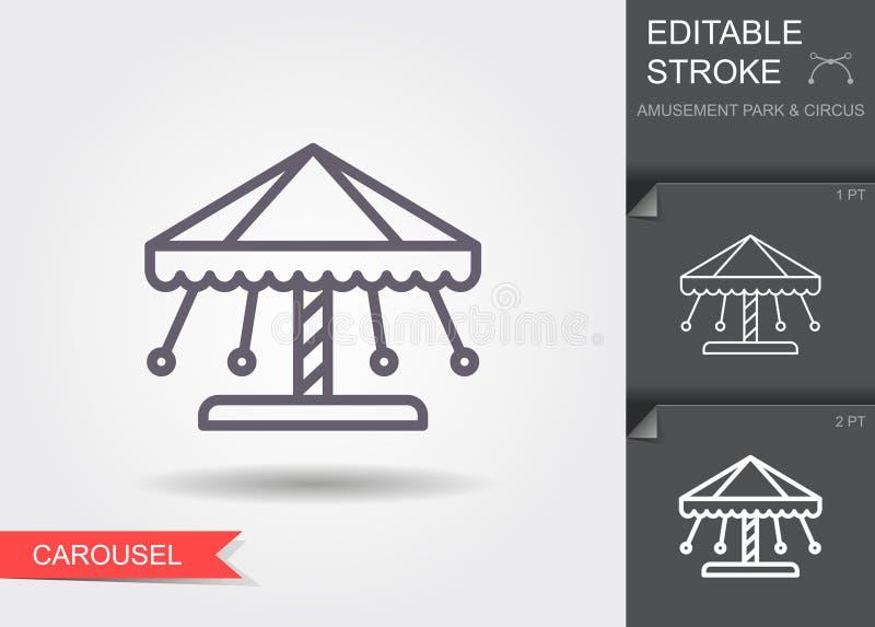 carrousel Lijnpictogram met editable slag met schaduw royalty-vrije illustratie