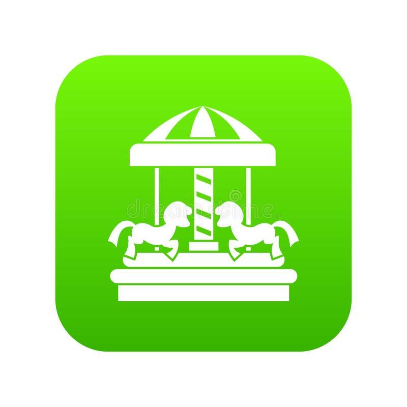 Carrousel met digitale groen van het paardenpictogram royalty-vrije illustratie