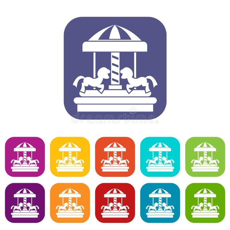 Carrousel met geplaatste paardenpictogrammen stock illustratie