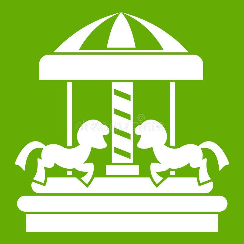 Carrousel met groen paardenpictogram stock illustratie