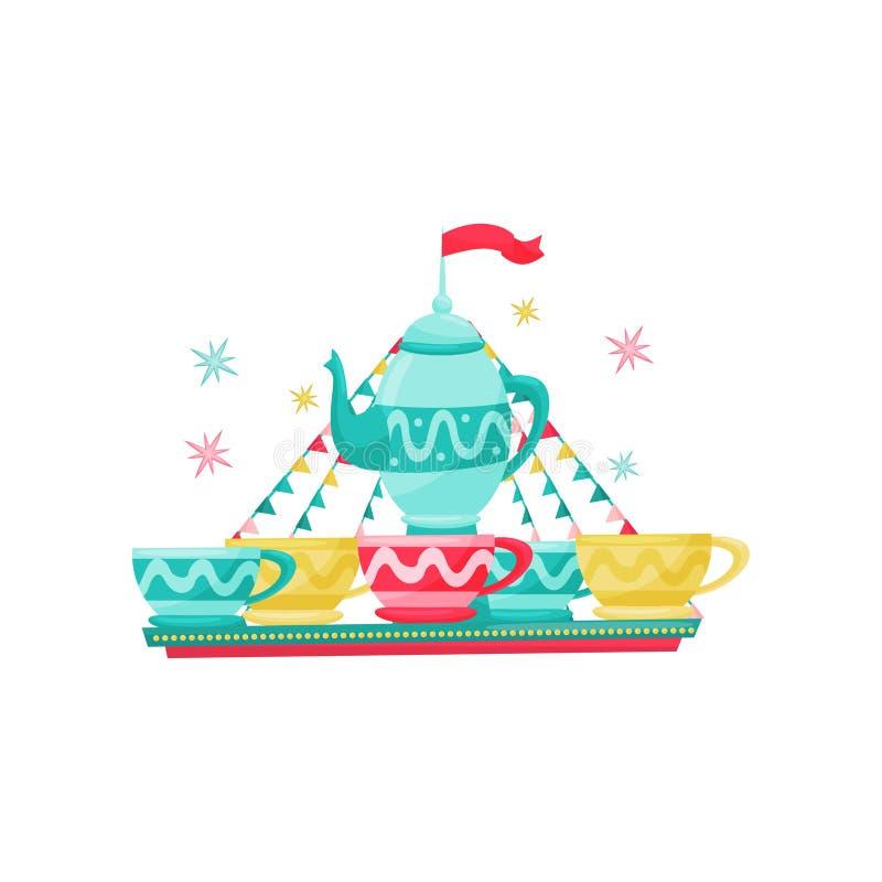 Carrousel met grote theeketel en koppen Pretparkmateriaal Vermaakthema Vlak vectorontwerp stock illustratie