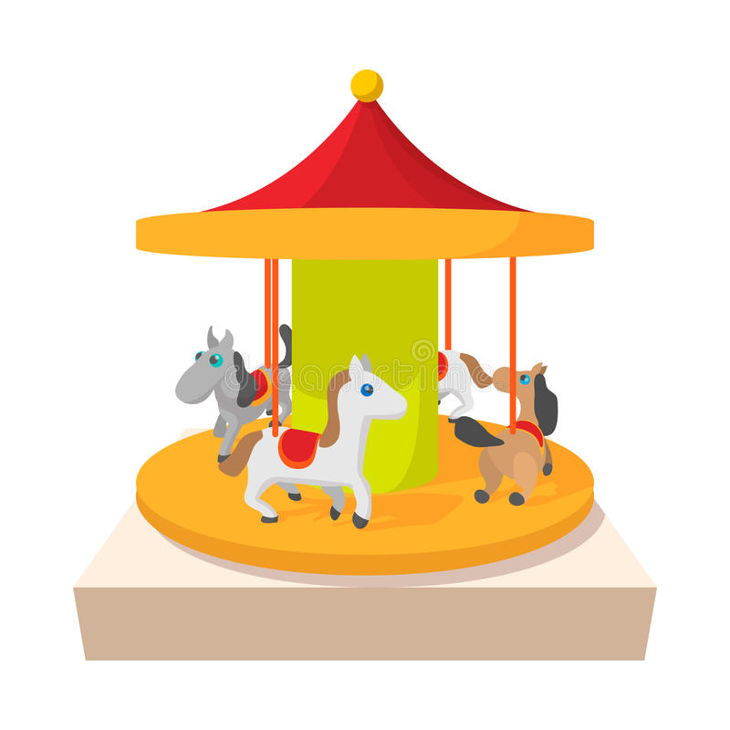Carrousel met het pictogram van het paardenbeeldverhaal vector illustratie