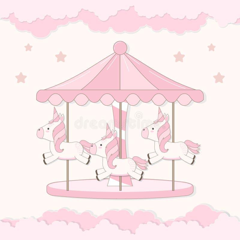 Carrousel met leuke eenhoorn en wolkenillustratie royalty-vrije illustratie