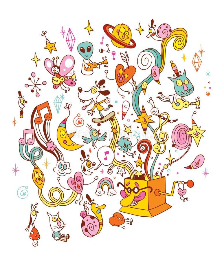 Carrousel met paard op de lichte achtergrond vector illustratie