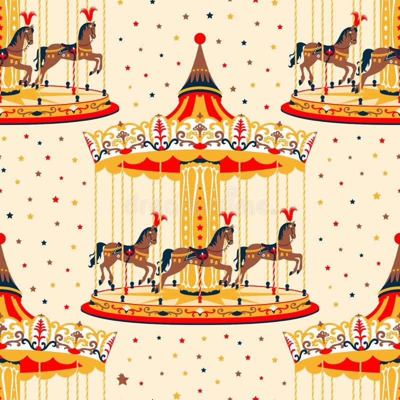 Carrousel met paarden stock illustratie