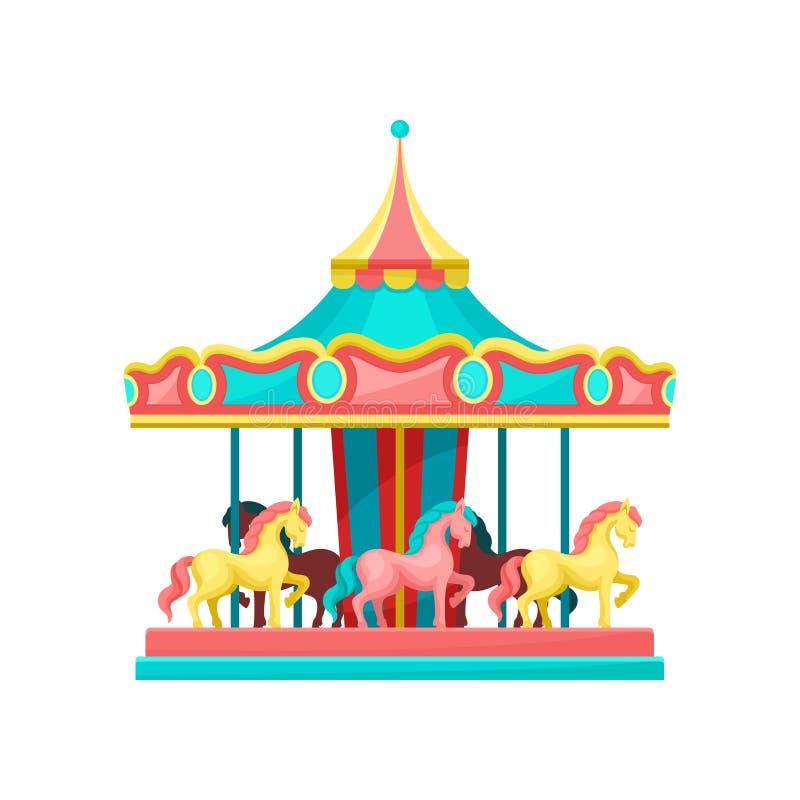 Carrousel met paarden, de vectorillustratie van het pretparkelement op een witte achtergrond stock illustratie