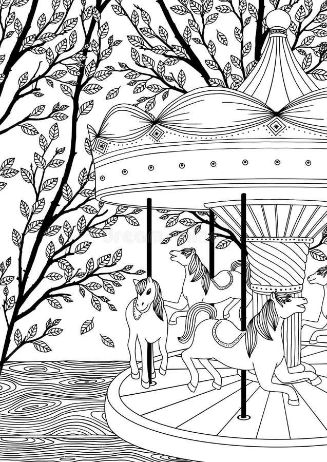 Carrousel met paarden in een park vector illustratie