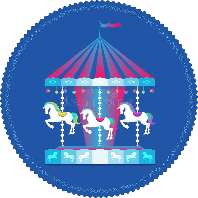 Carrousel met paarden kleurrijk pictogram royalty-vrije illustratie