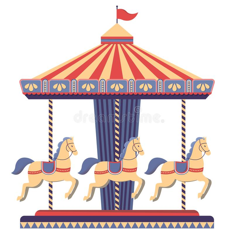 Carrousel met paarden in pretpark royalty-vrije illustratie