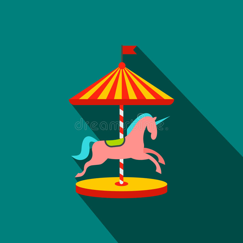 Carrousel met paarden vlak pictogram stock illustratie