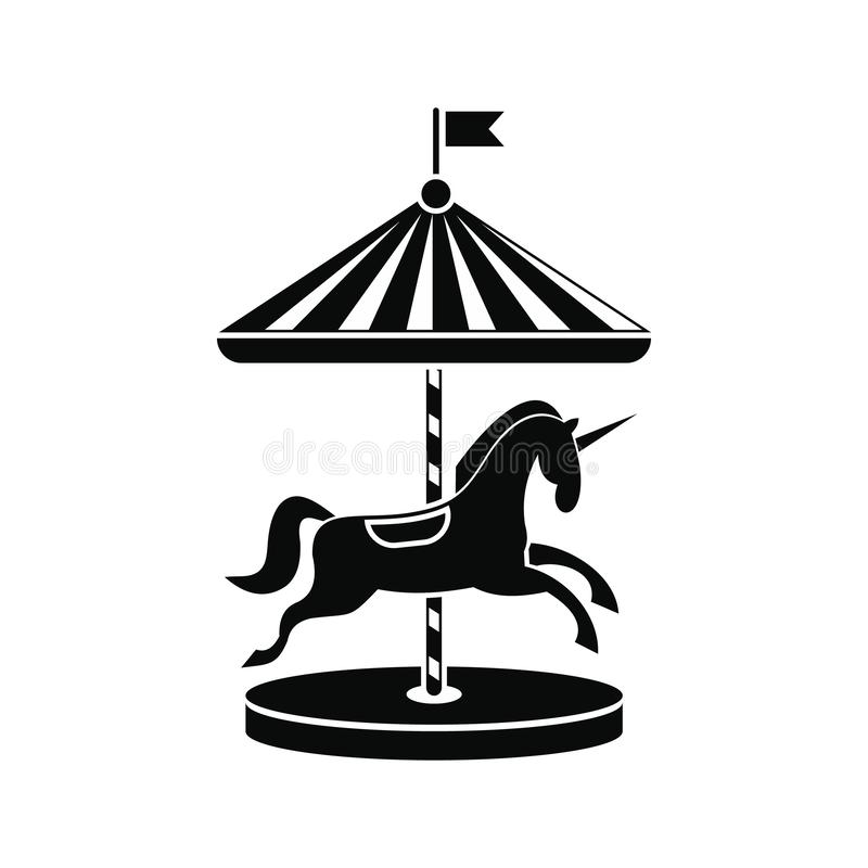Carrousel met paardenpictogram stock illustratie
