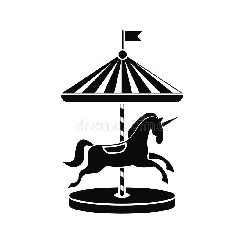 Carrousel met paardenpictogram royalty-vrije illustratie