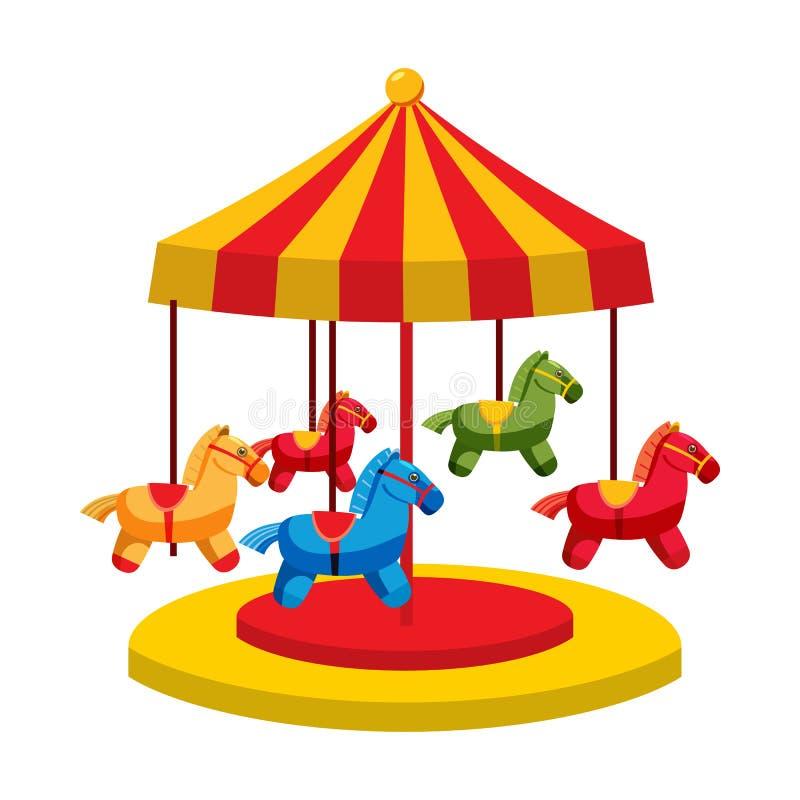 Carrousel met paardenpictogram, beeldverhaalstijl royalty-vrije illustratie