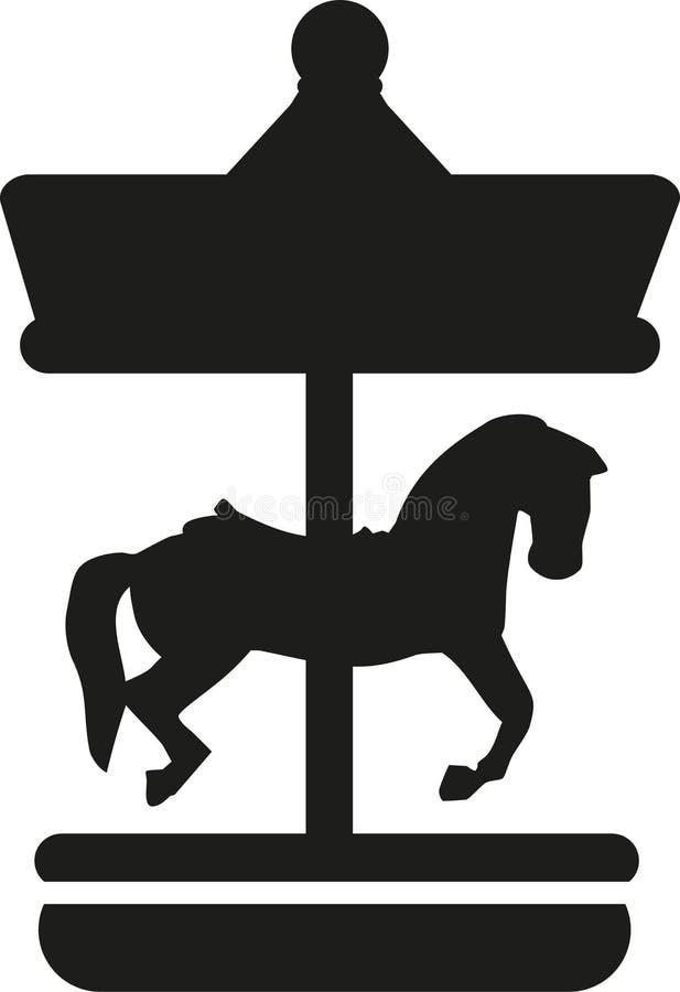 Carrousel met paardpictogram vector illustratie