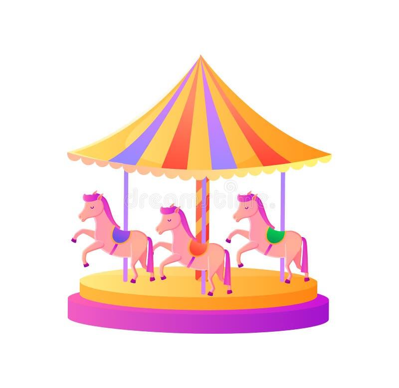 Carrousel met Pony Pink Horses, Aantrekkelijkheidsvector stock illustratie