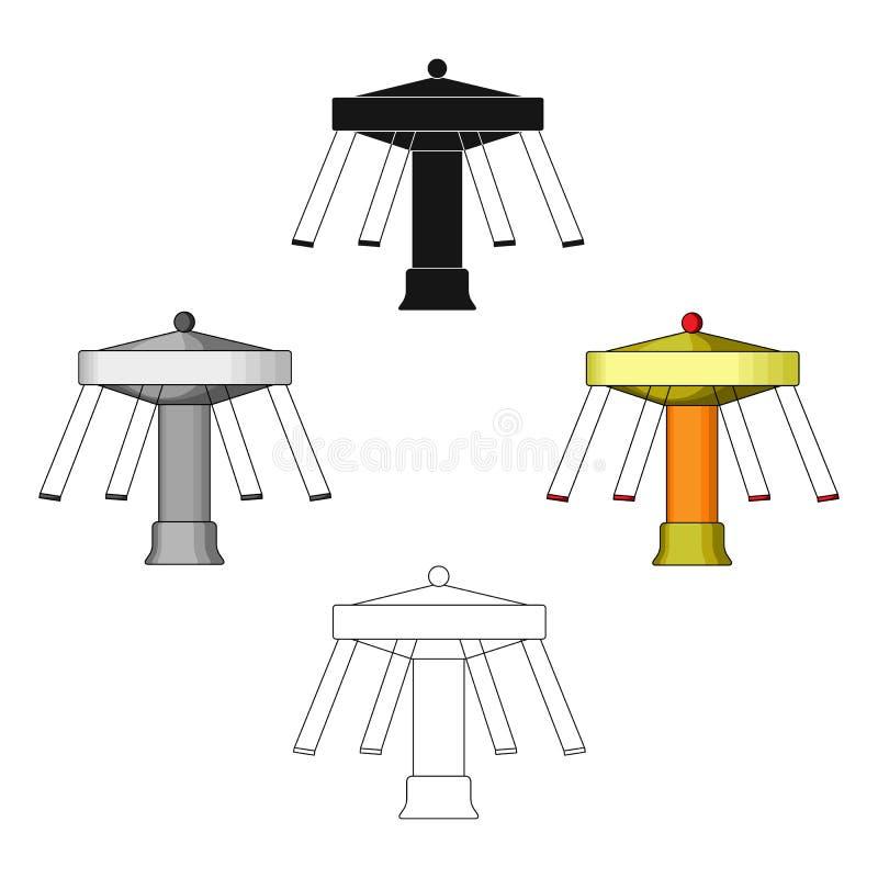 Carrousel met zetels op kettingen voor kinderen Reuzenrad bij night Pretpark enig pictogram in beeldverhaal, zwarte stijlvector royalty-vrije illustratie