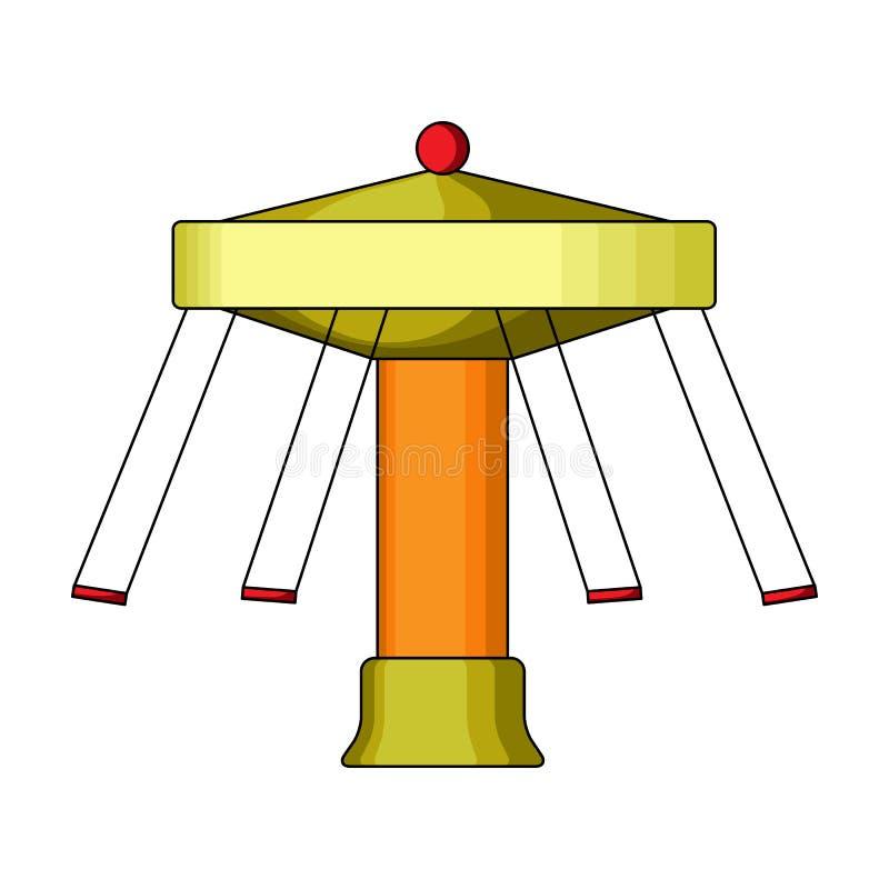 Carrousel met zetels op kettingen voor kinderen Reuzenrad bij night Pretpark enig pictogram in het vectorsymbool van de beeldverh royalty-vrije illustratie