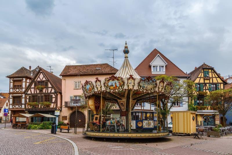Carrousel in Obernai, de Elzas, Frankrijk royalty-vrije stock fotografie