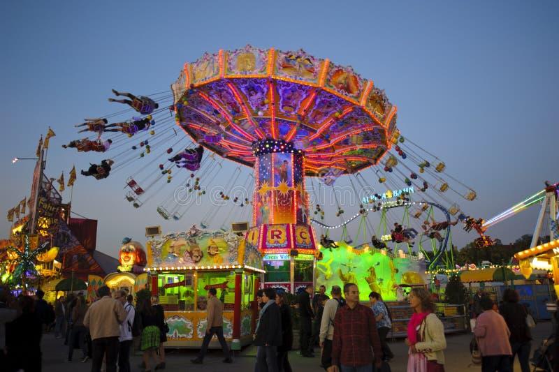 Carrousel in Oktoberfest in München royalty-vrije stock foto's