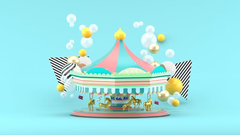 Carrousel onder kleurrijke ballen op blauwe achtergrond stock illustratie