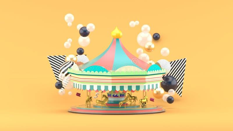 Carrousel onder kleurrijke ballen op oranje achtergrond royalty-vrije illustratie