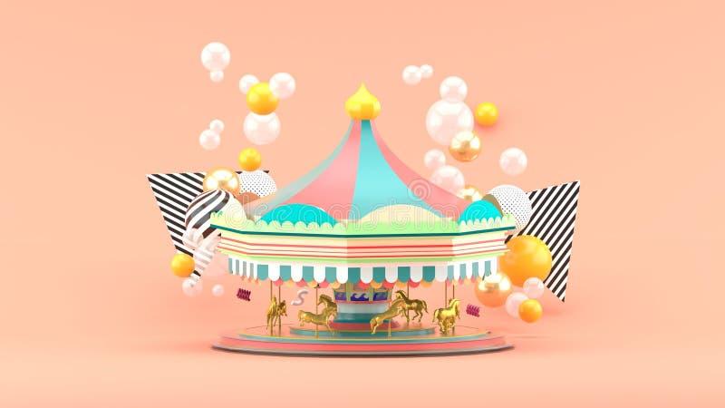 Carrousel onder kleurrijke ballen op roze achtergrond stock illustratie