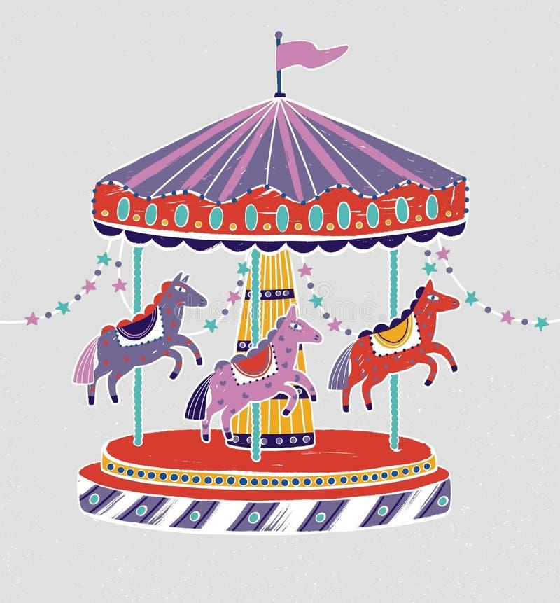 Carrousel, rotonde of vrolijk-gaan-rond met aanbiddelijke paarden of poneys Vermaakrit voor kinderen` s vermaak stock illustratie